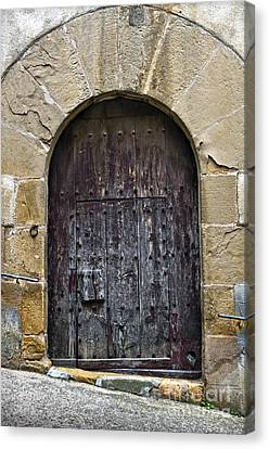 Antique Door With Cat Flap Canvas Print by RicardMN Photography