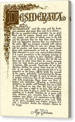 The Universe Canvas Print - Antique Florentine Desiderata On Parchment. by Desiderata Gallery