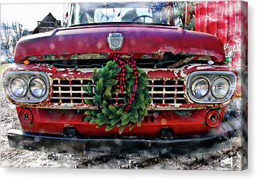 Antique Ford Christmas Canvas Print