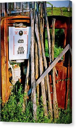 Canvas Print featuring the photograph Antique Gas Pump by Linda Unger