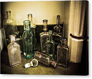 Stopper Canvas Print - Antique Glass Bottles by Marilyn Hunt