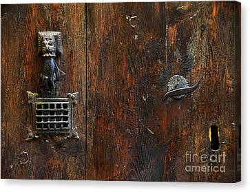 Antique Hand Door Knocker Spyhole Handle And Keyhole Canvas Print by RicardMN Photography
