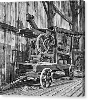 Pioneer Museum Canvas Print - Antique Hay Baler Retirement Bw by Steve Harrington