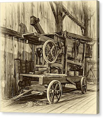 Pioneer Museum Canvas Print - Antique Hay Baler Retirement - Sepia by Steve Harrington