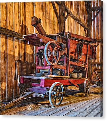 Pioneer Museum Canvas Print - Antique Hay Baler Retirement  by Steve Harrington