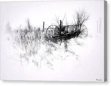 Rake Canvas Print - Antique Hay Rake In Snow by Anna Louise