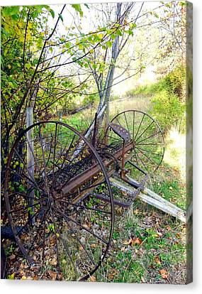 Barbed Wire Fences Canvas Print - Antique Hay Rake by Will Borden