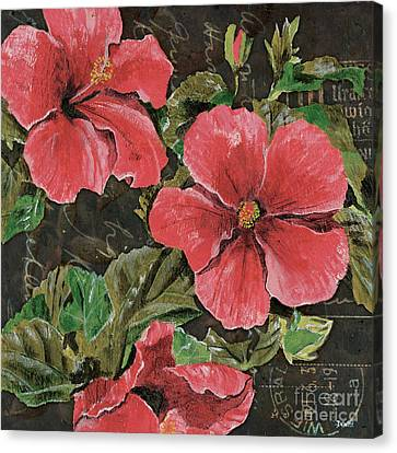 Antique Hibiscus Black 2 Canvas Print by Debbie DeWitt