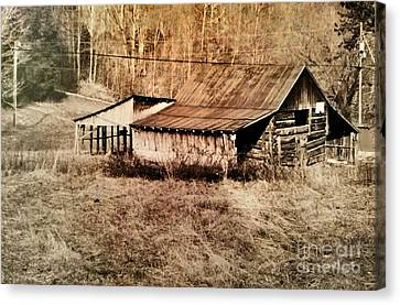Antique Log Beam Barn Southern Indiana Canvas Print