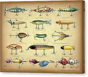 Antique Lures Brown Canvas Print by JQ Licensing