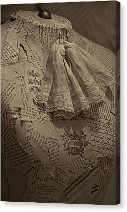 Antique Mannequin With Collage Of Vintage Papers Canvas Print