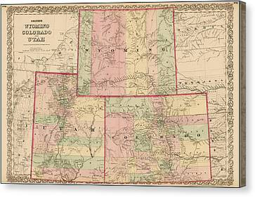 Antique Map - Colton's Wyoming Colorado And Utah 1876 Canvas Print by  CB Colton
