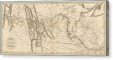 Antique Map - Lewis And Clark's Track Across North America Canvas Print by Meriwether Lewis and William Clark