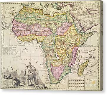 Antique Map Of Africa Canvas Print