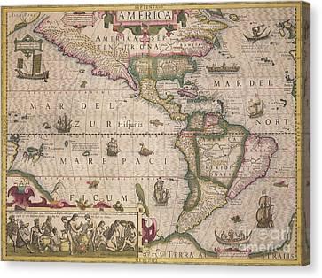 Antique Map Of America Canvas Print by Jodocus Hondius