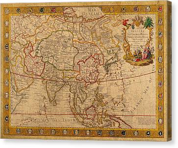 Antique Map Of Asia 1732 Vintage On Worn Canvas Canvas Print