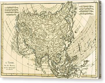 Antique Map Of Asia Canvas Print by Guillaume Raynal