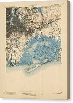 Canvas Print featuring the drawing Antique Map Of Brooklyn And Queens - New York City - Usgs Topographic Map - 1900 by Blue Monocle