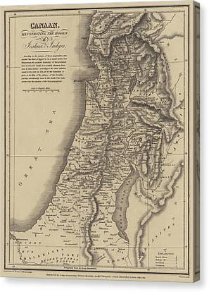 Antique Map Of Canaan Canvas Print by English School