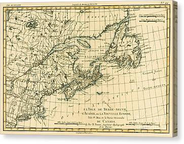 Old Canvas Print - Antique Map Of Eastern Canada by Guillaume Raynal