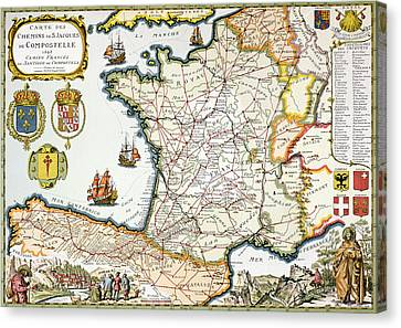 Antique Map Of France Canvas Print