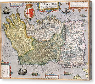 Old Canvas Print - Antique Map Of Ireland by  English School