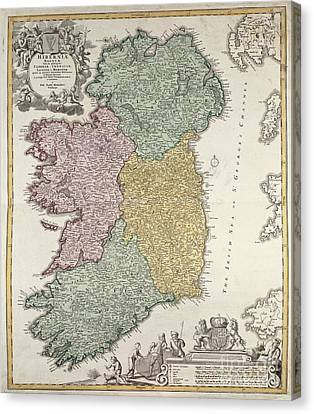 Old Canvas Print - Antique Map Of Ireland Showing The Provinces by Johann Baptist Homann