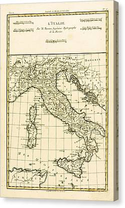 Old Canvas Print - Antique Map Of Italy by Guillaume Raynal