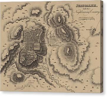 Antique Map Of Jerusalem Canvas Print