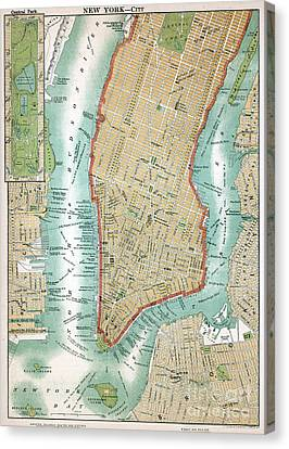 Antique Map Of Lower Manhattan And Central Park Canvas Print by American School