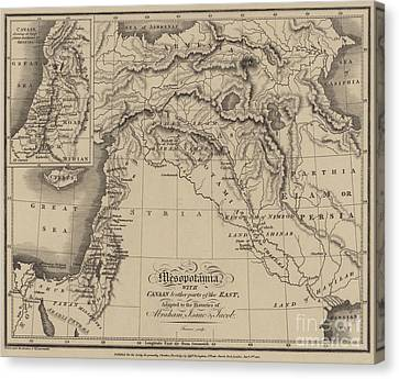 Antique Map Of Mesopotamia With Canaan And Other Parts Of The Middle East Canvas Print by English School