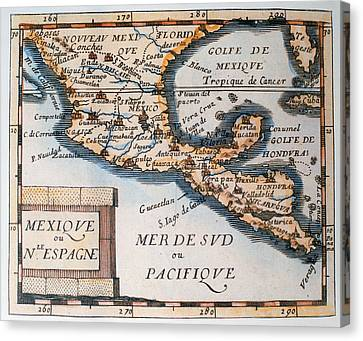 Antique Map Of Mexico Or New Spain Canvas Print by French School
