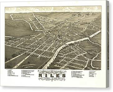 Antique Map Of Niles Ohio 1882 Canvas Print
