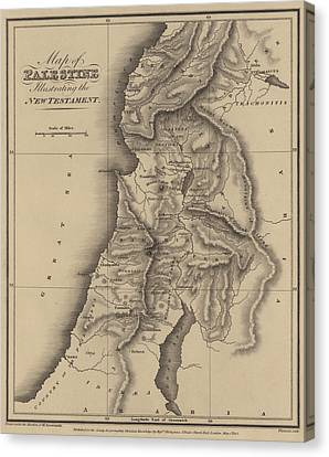 Antique Map Of Palestine Canvas Print by English School
