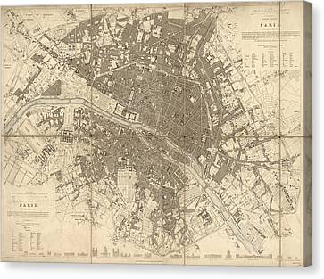 Antique Map Of Paris France By The Society For The Diffusion Of Useful Knowledge - 1834 Canvas Print by Blue Monocle