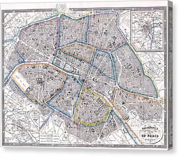 Antique Map Of Paris Canvas Print by Giovanni Antonio Galignani