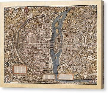 Antique Map Of Paris Canvas Print