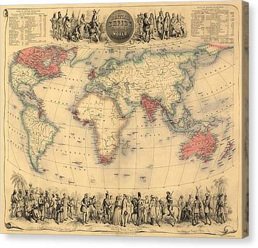 Antique Map Of The British Empire Circa 1870 Canvas Print by English School