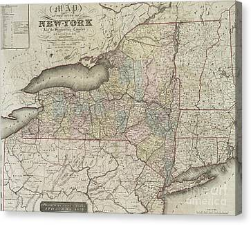Antique Map Of The State Of New York And The Surrounding Country Canvas Print