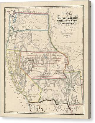 Antique Map Of The Western United States By John Disturnell - 1853 Canvas Print by Blue Monocle