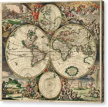 Antique Map Of The World - 1689 Canvas Print by Marianna Mills
