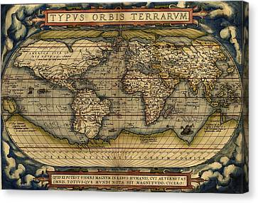 Antique Map Of The World By Abraham Ortelius - 1564 Canvas Print by Marianna Mills