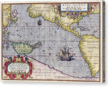 Antique Map Of The World By Abraham Ortelius - 1589 Canvas Print by Marianna Mills