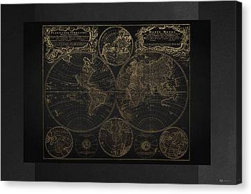 Antique Map Of The World - Gold On Black Canvas Canvas Print
