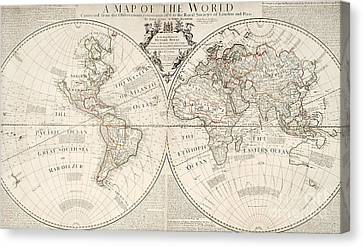 Antique Map Of The World Canvas Print by John Senex and John Maxwell