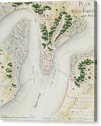 Antique Map Of West Point  Virginia Canvas Print by F Dubourg