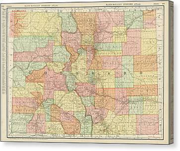 Antique Map - Rand Mcnally Colorado 1898 Canvas Print