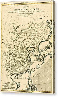 Antique Map The Chinese Empire Canvas Print by Guillaume Raynal