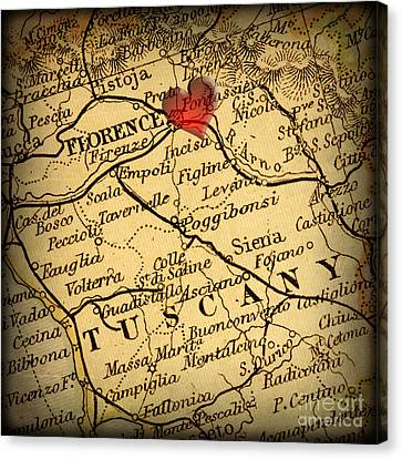 Charts Canvas Print - Antique Map With A Heart Over The City Of Florence In Italy by ELITE IMAGE photography By Chad McDermott