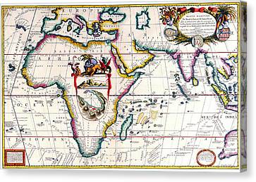 Antique Maps Of The World Map Of Africa Vincenzo Coronelli C 1690 Canvas Print by R Muirhead Art